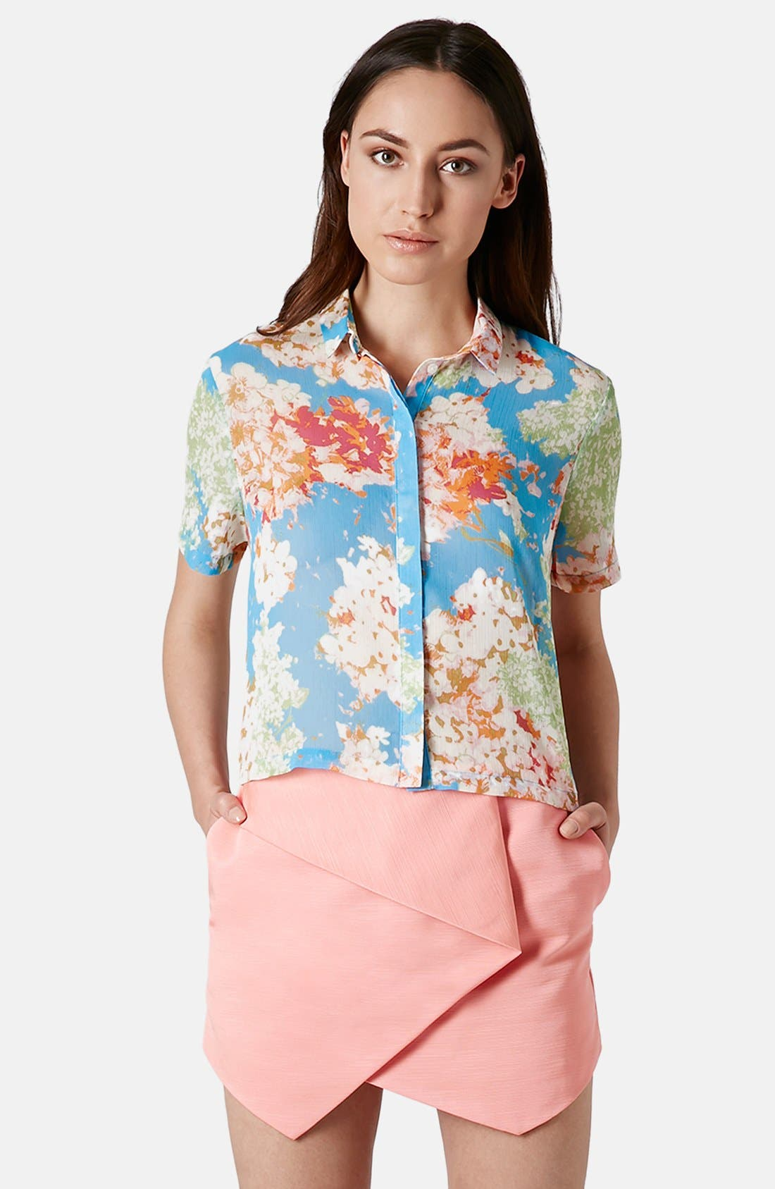 Alternate Image 1 Selected - Topshop 'Zoe' Floral Print Short Sleeve Blouse