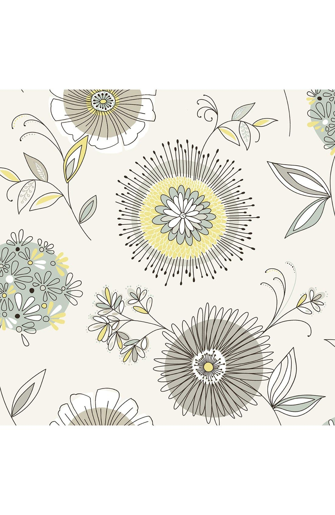 Main Image - Wallpops 'Maisie Green Floral Burst' Unpasted Wallpaper