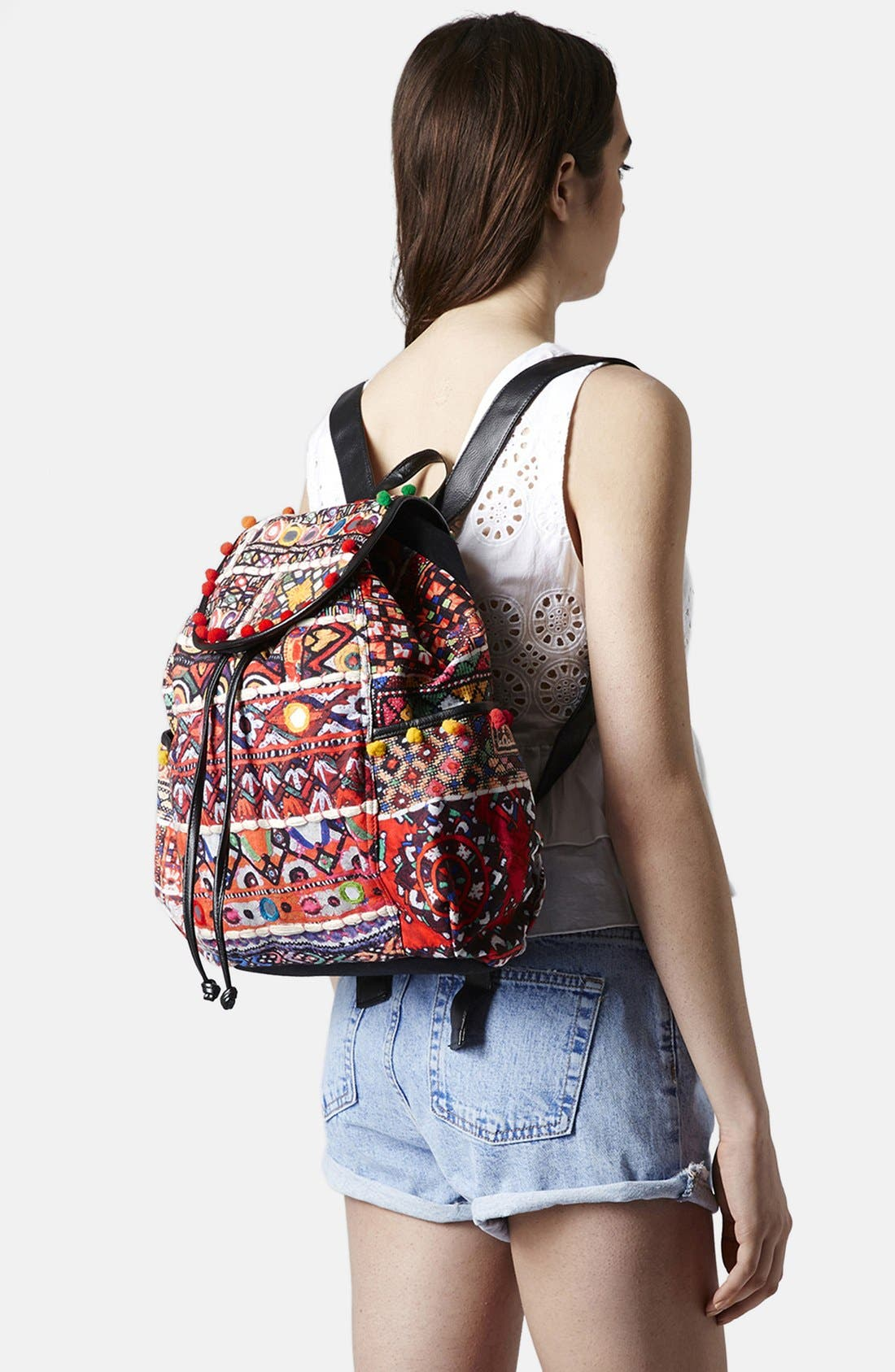 Alternate Image 2  - Topshop 'Cuzco' Pompom Trim Embroidered Backpack