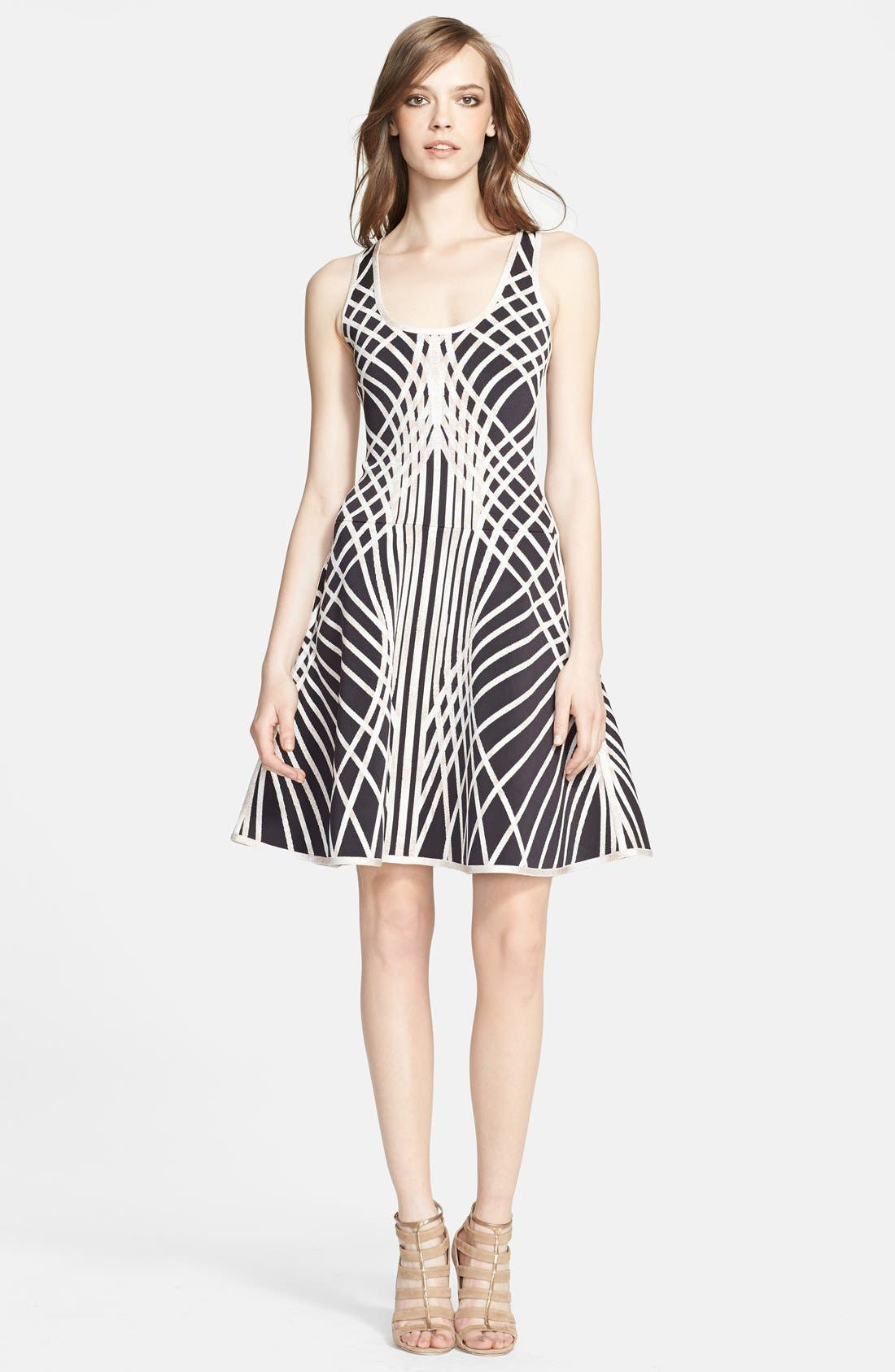 Main Image - Herve Leger Contrast Graphic Pattern Fit & Flare Dress