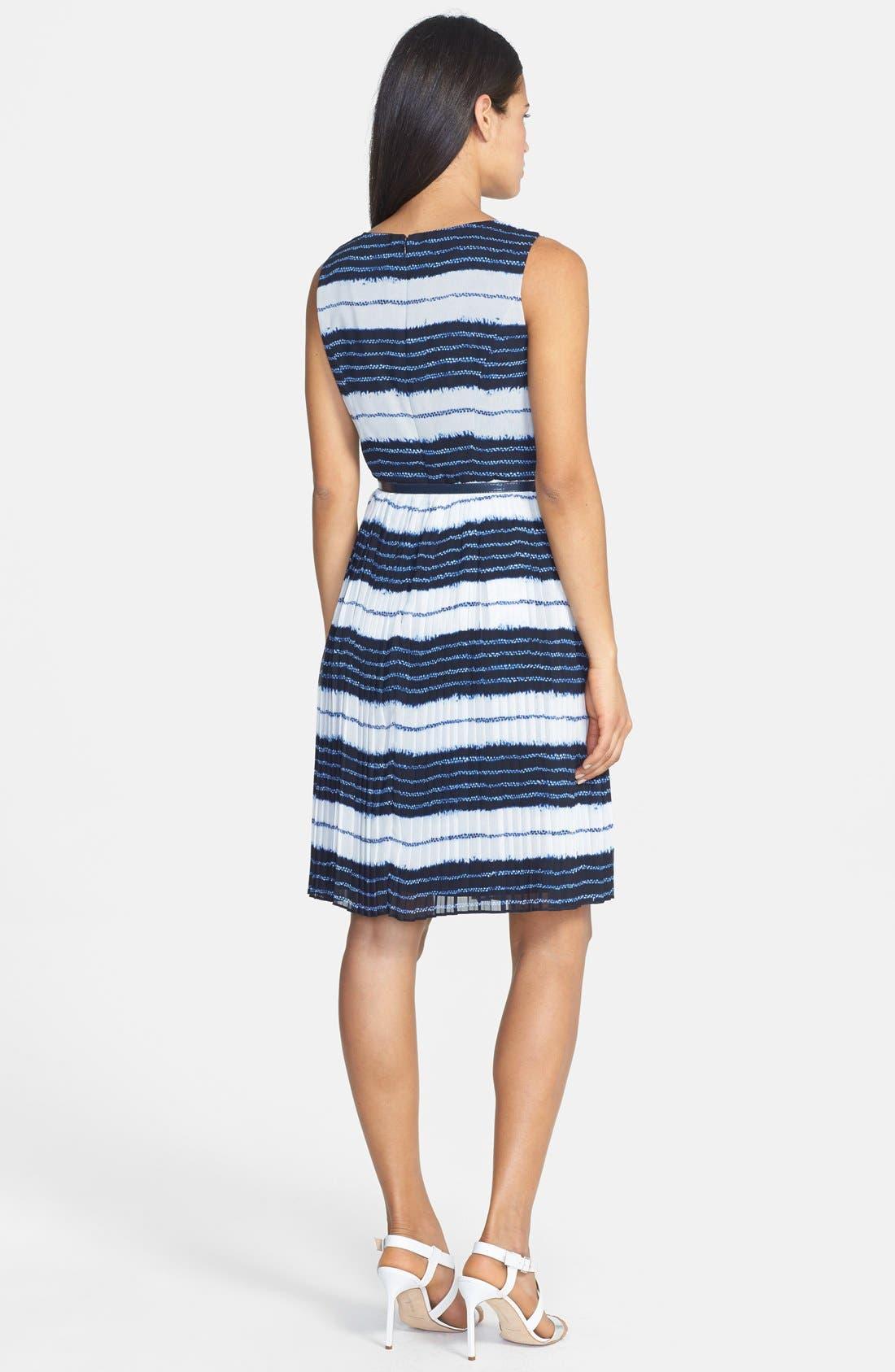 Alternate Image 2  - Adrianna Papell Batik Stripe Print Chiffon Dress