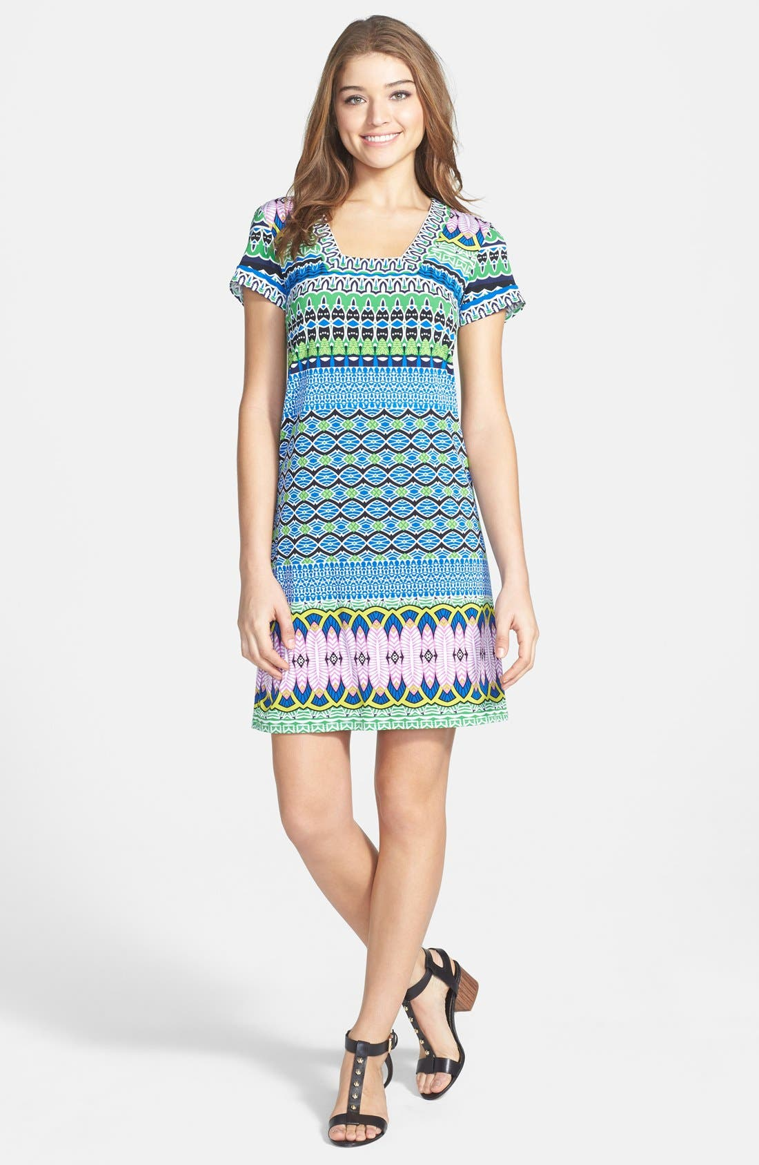 Alternate Image 3  - Laundry by Shelli Segal Print Matte Jersey Shift Dress (Petite)