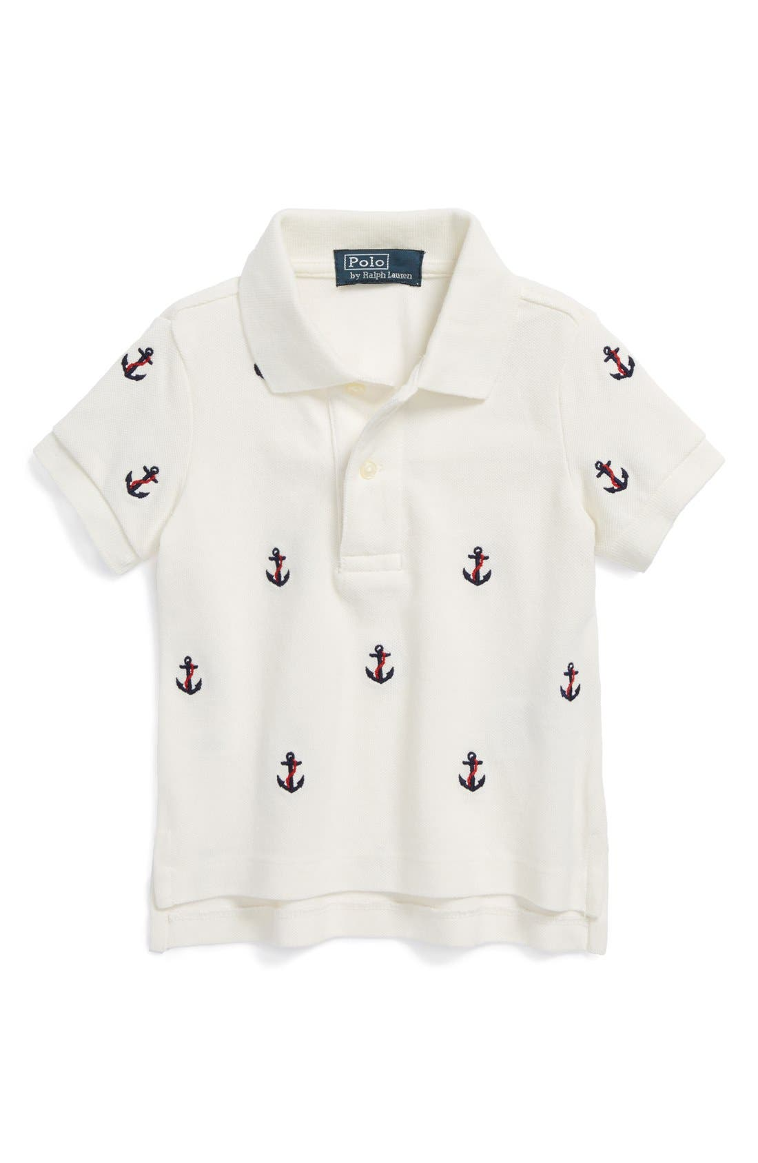 Alternate Image 1 Selected - Ralph Lauren Anchor Embroidered Polo (Baby Boys)