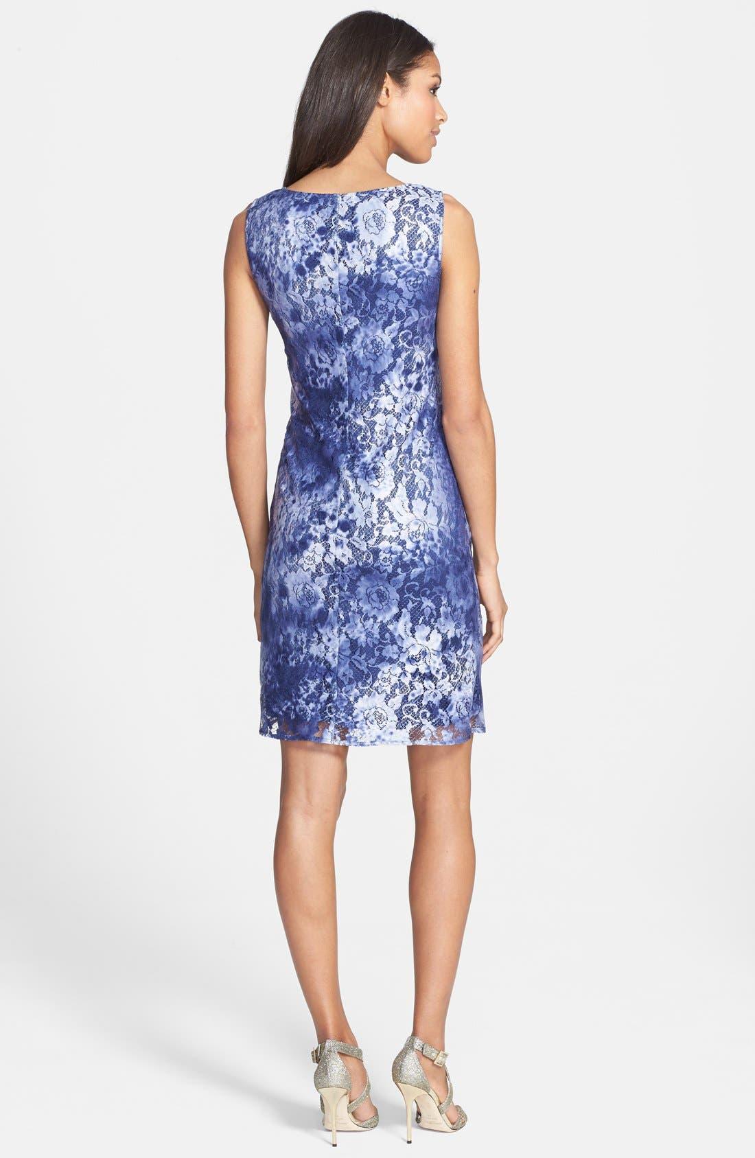 Alternate Image 2  - Adrianna Papell Tie Dye Lace Sheath Dress (Regular & Petite)