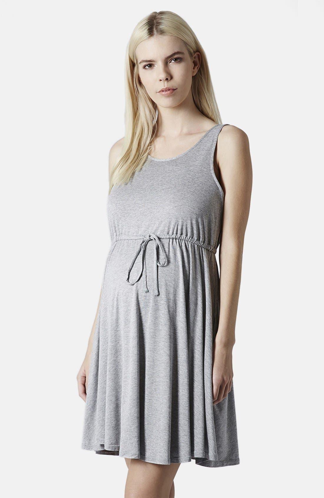 Main Image - Topshop Drawstring Waist Jersey Maternity Dress