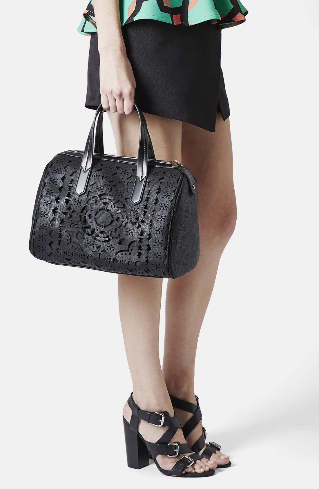 Alternate Image 2  - Topshop Lasercut Faux Leather Tote