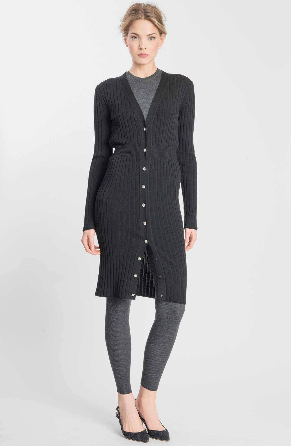 Main Image - Dolce&Gabbana Crystal Button Ribbed Wool Sweater Dress