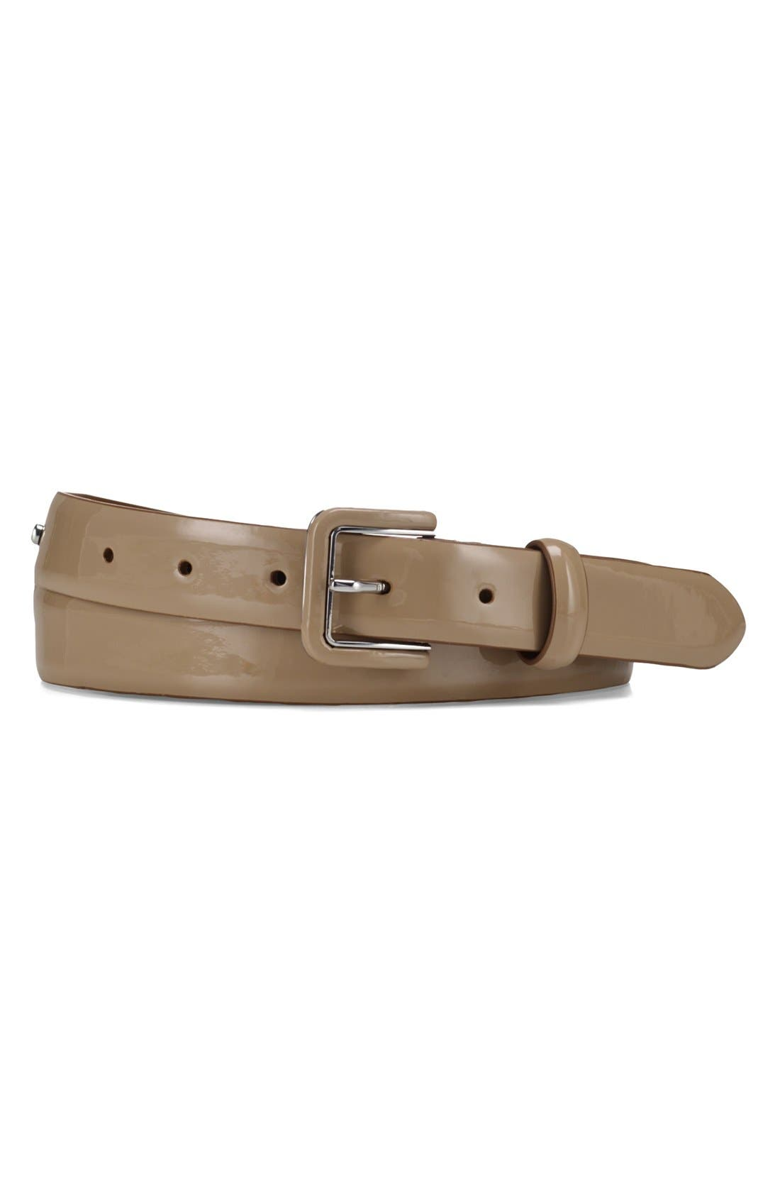 Alternate Image 1 Selected - Lauren Ralph Lauren Logo Debossed Patent Belt