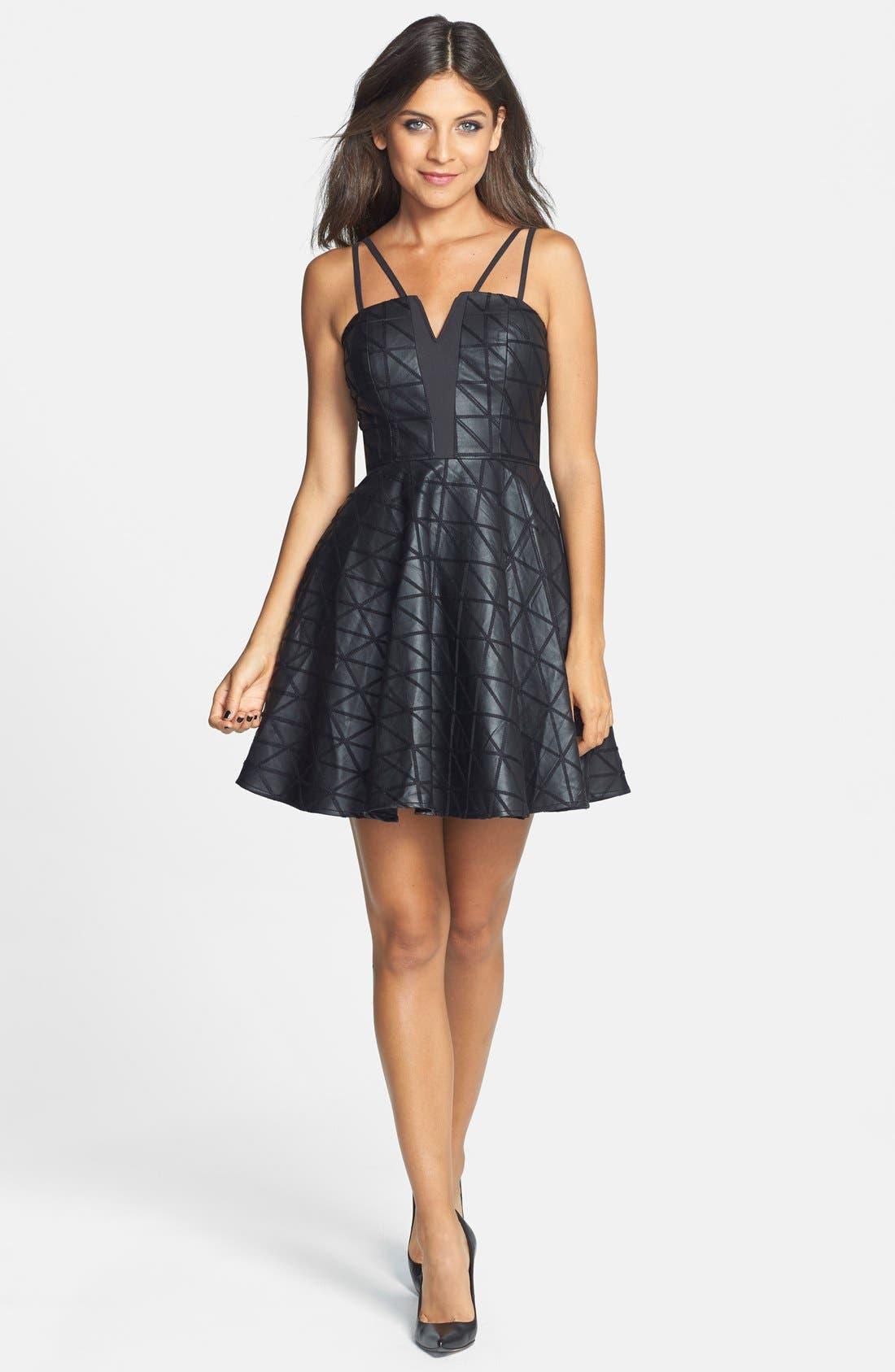 Alternate Image 3  - a. drea Crisscross Faux Leather Dress (Juniors)