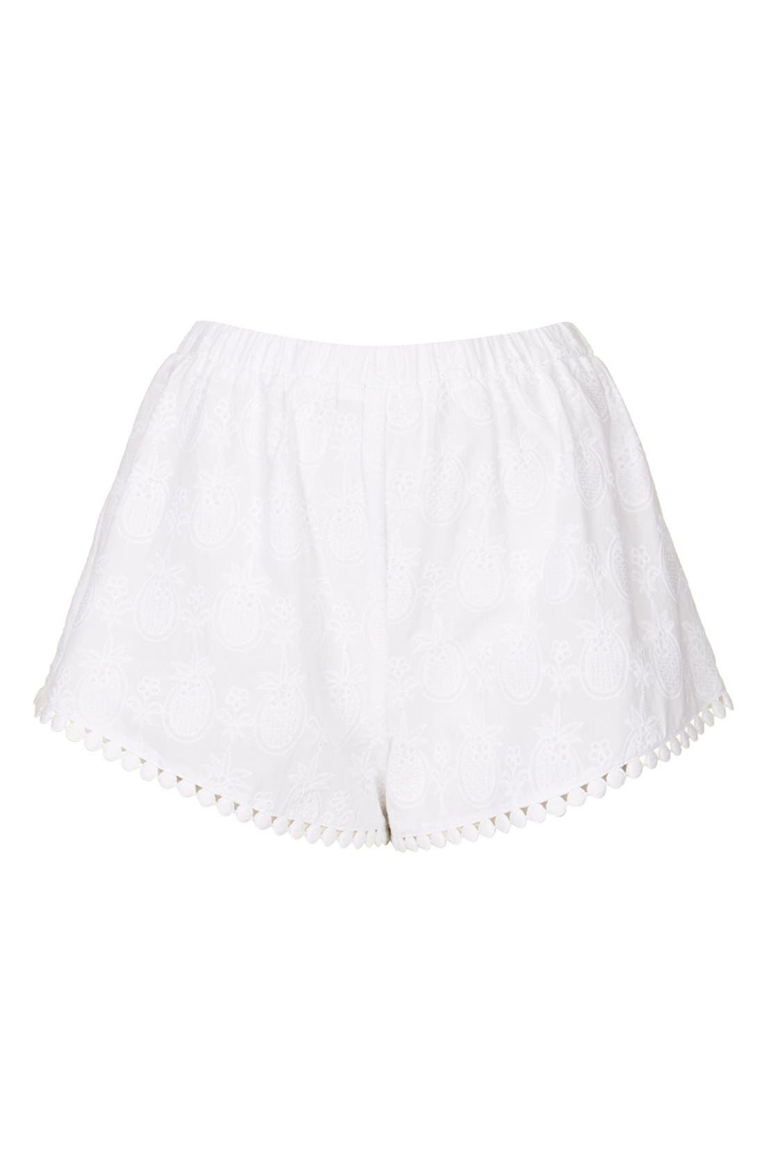 Alternate Image 3  - Topshop Pineapple Embroidered Cotton Shorts