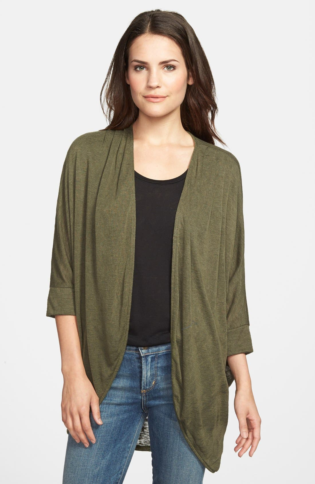 Main Image - Gibson Dolman Sleeve Open Cardigan (Regular & Petite)