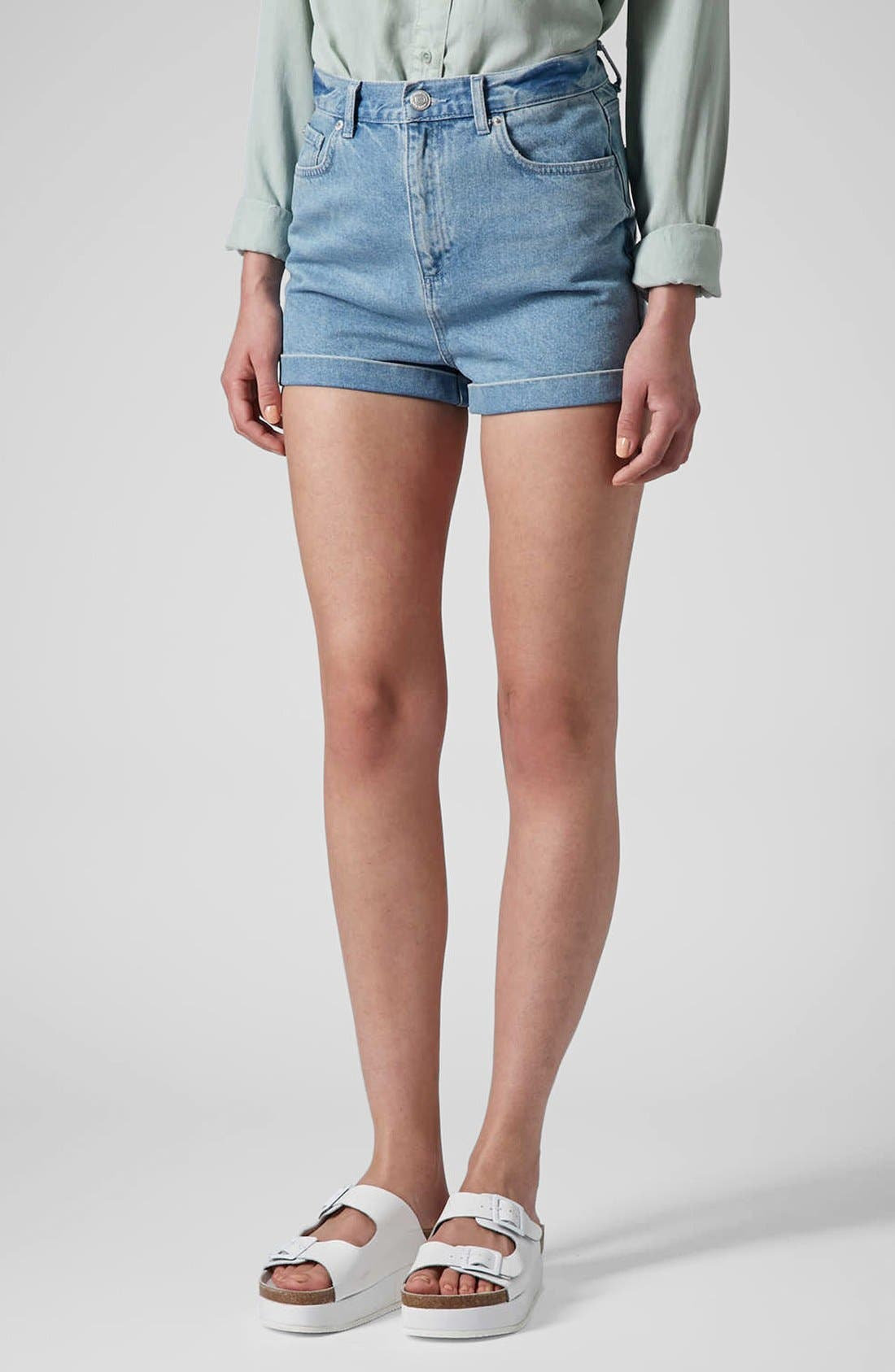 Main Image - Topshop Moto 'Mom' High Rise Shorts (Light Denim)