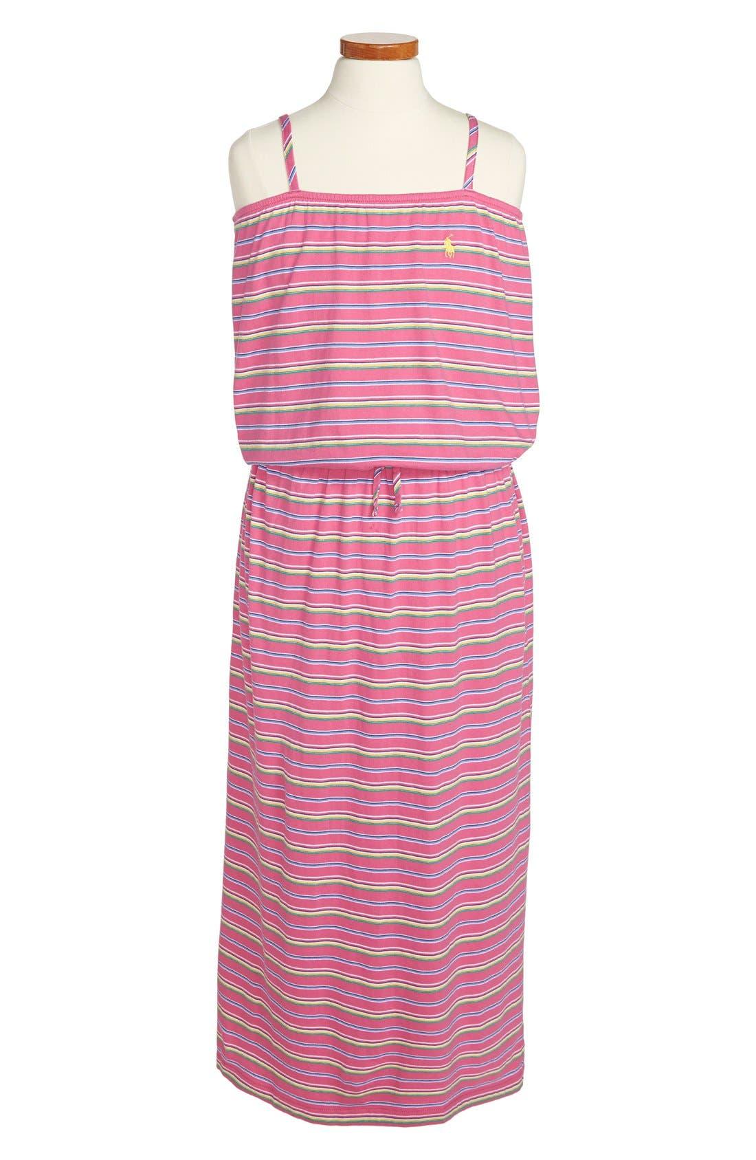 Alternate Image 1 Selected - Ralph Lauren Stripe Cotton Maxi Dress (Big Girls)