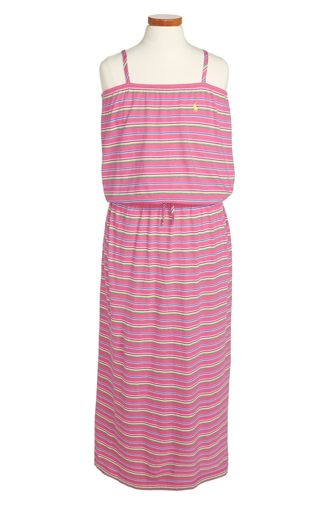 Main Image - Ralph Lauren Stripe Cotton Maxi Dress (Big Girls)