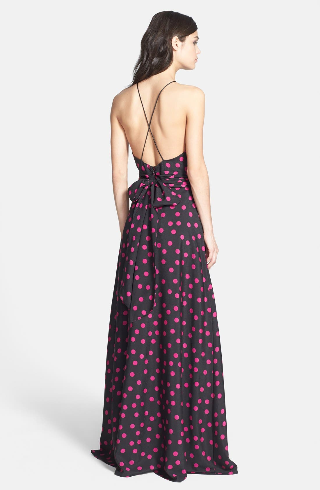 Alternate Image 2  - Hailey by Adrianna Papell Polka Dot Halter Gown