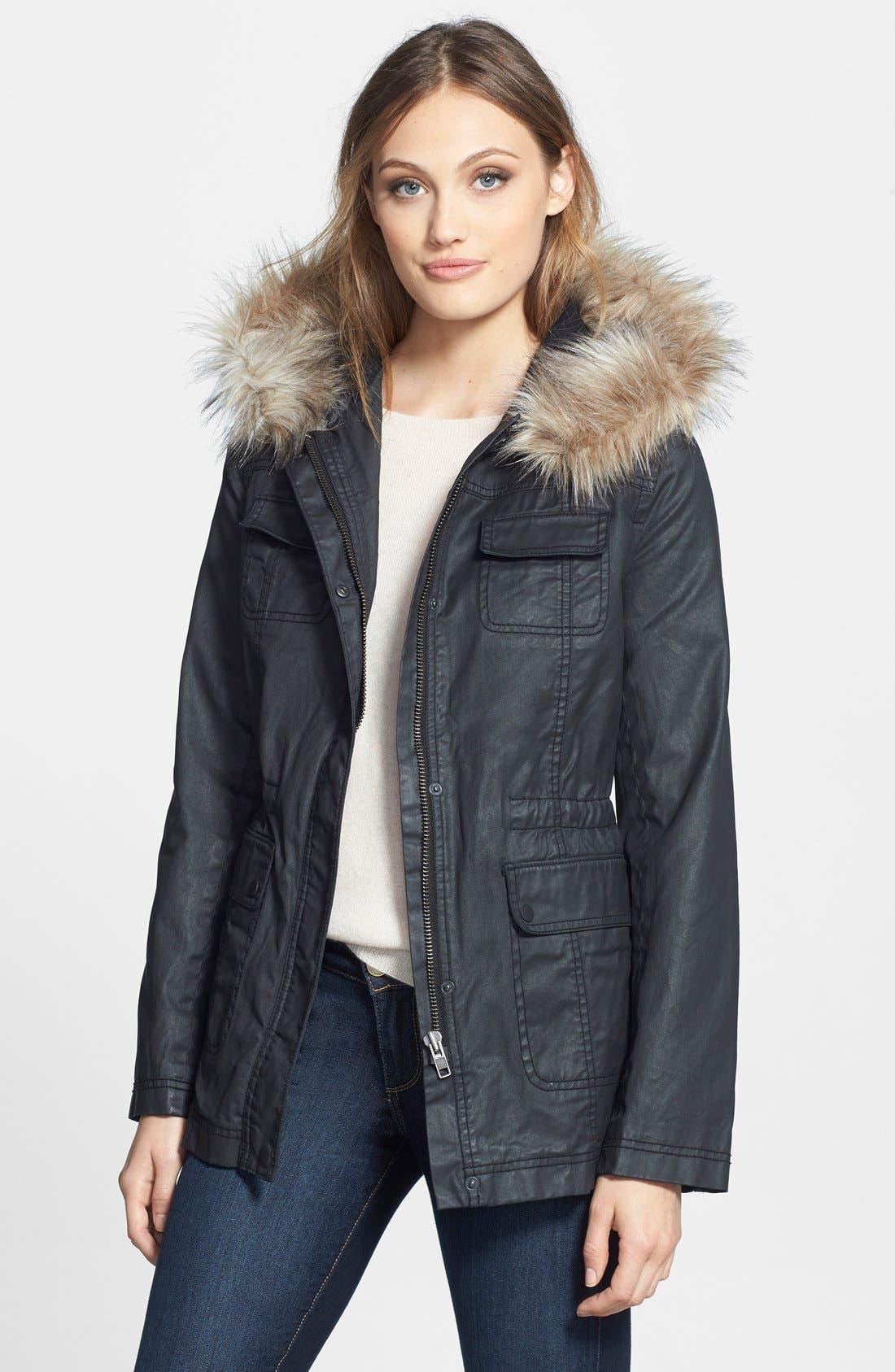 Alternate Image 1 Selected - Caslon® Faux Fur Trim Parka (Regular & Petite)