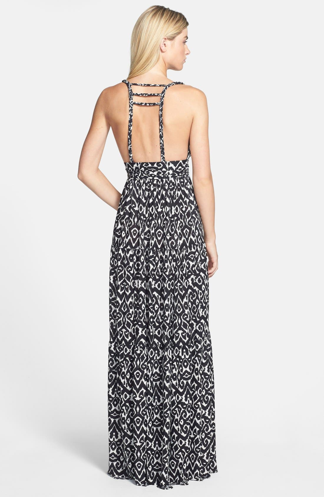 Alternate Image 2  - Tbags Los Angeles Braid Back Jersey Maxi Dress