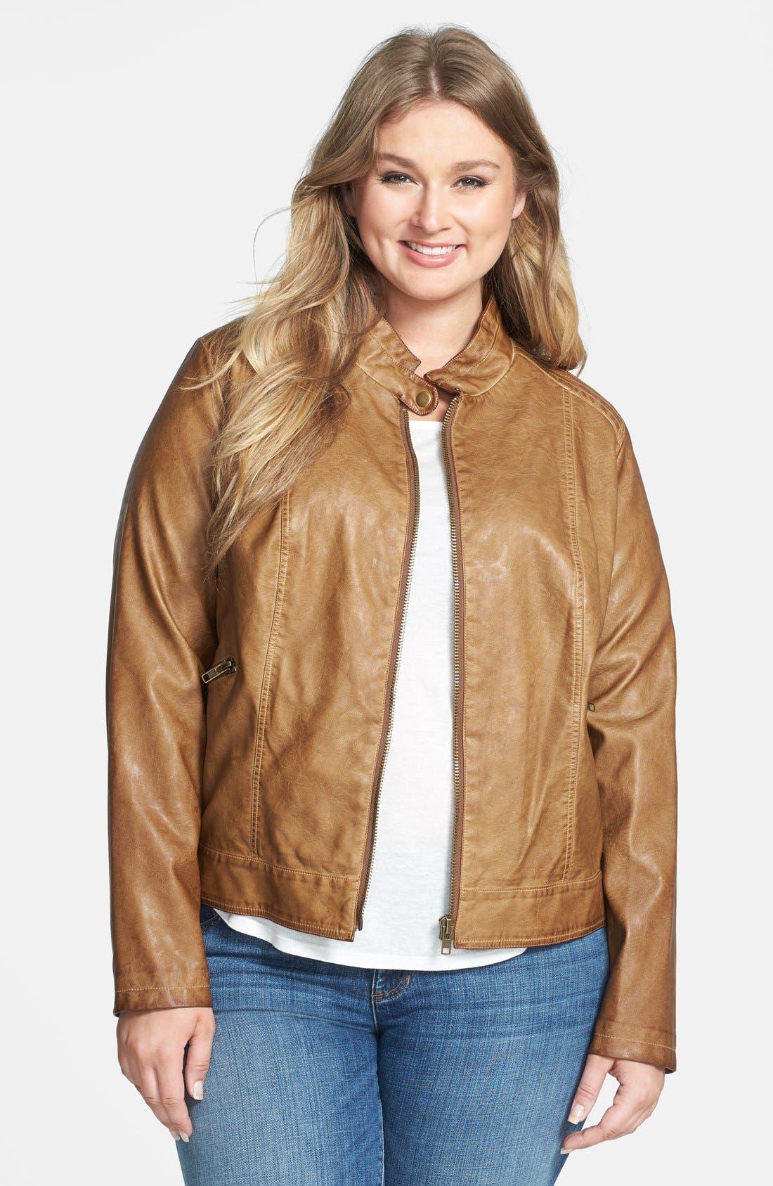 Main Image - BB Dakota 'Janeen' Faux Leather Moto Jacket (Plus Size)