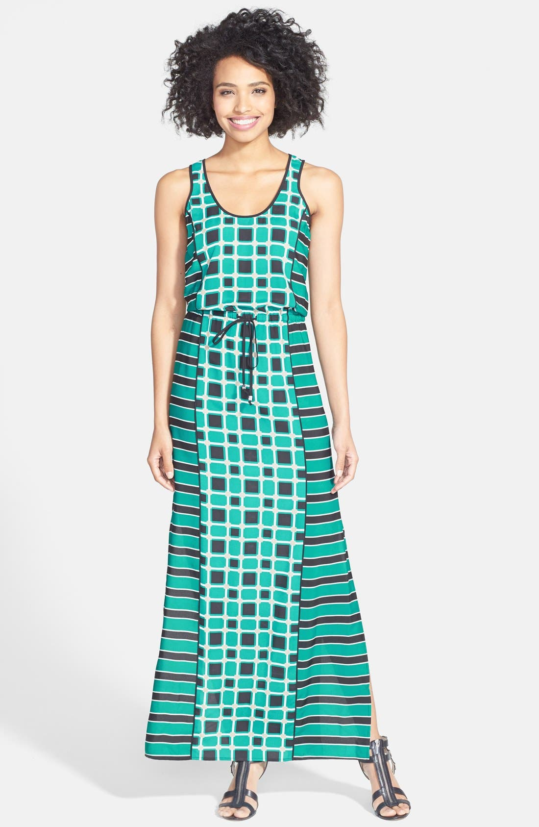 Alternate Image 1 Selected - MICHAEL Michael Kors 'Soho Square' Drawstring Maxi Dress (Regular & Petite)