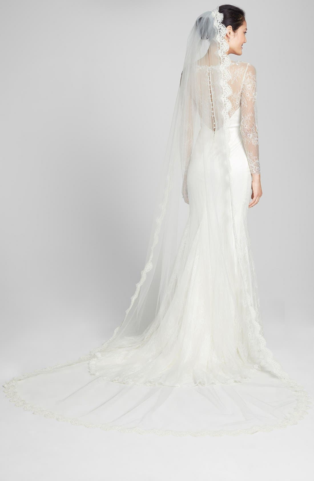 Alternate Image 1 Selected - Veil Trends Alençon Lace Cathedral Veil (Nordstrom Exclusive)