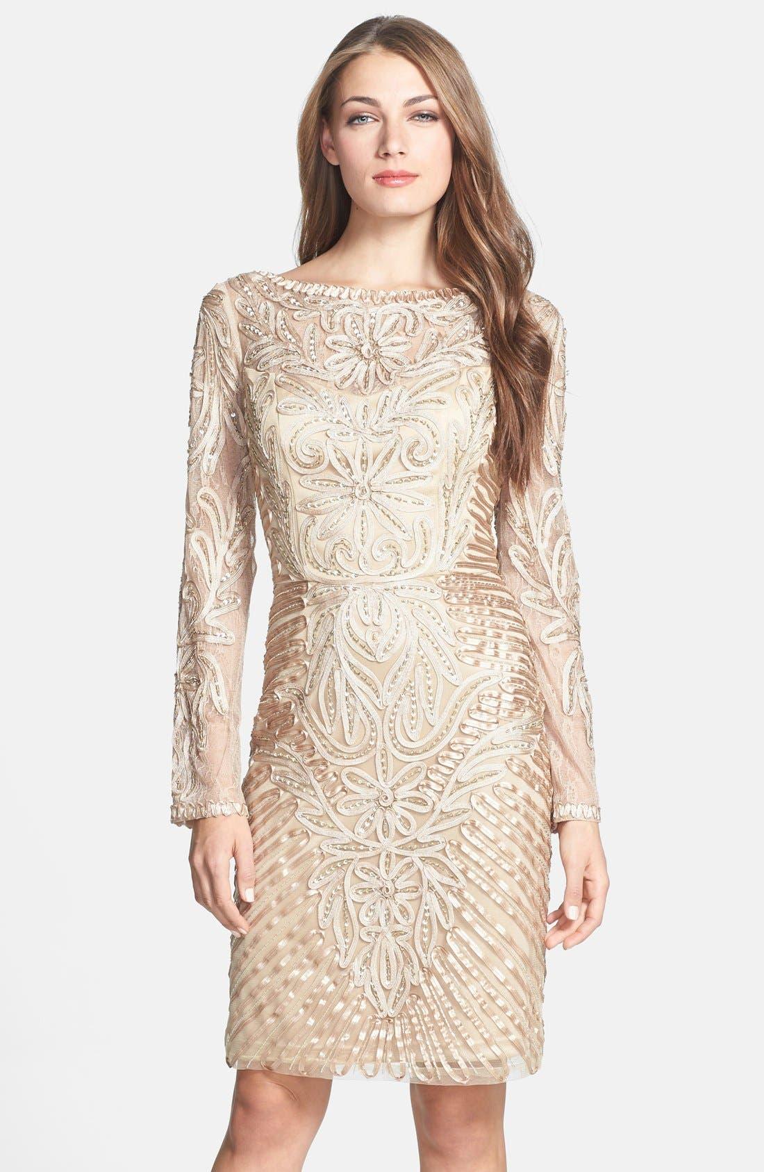 Alternate Image 1 Selected - Sue Wong Embellished Long Sleeve Sheath Dress
