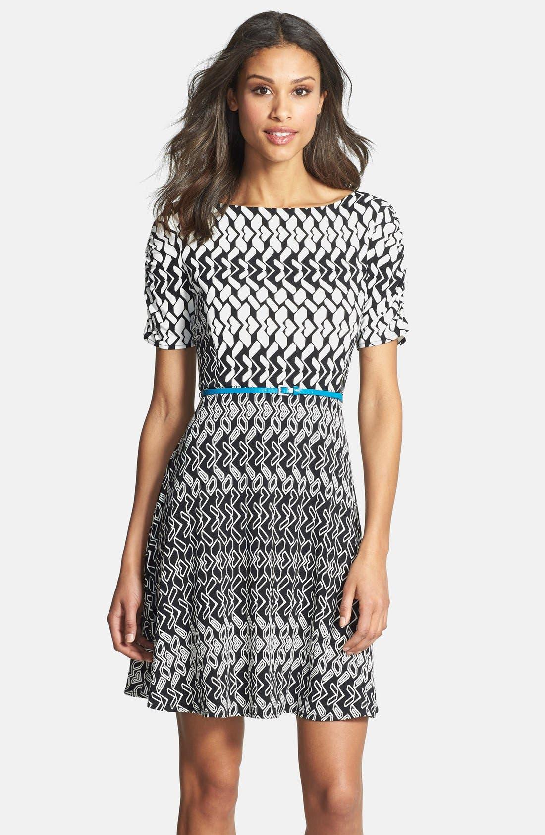 Main Image - Donna Morgan Print Fit & Flare Jersey Dress (Regular & Petite)