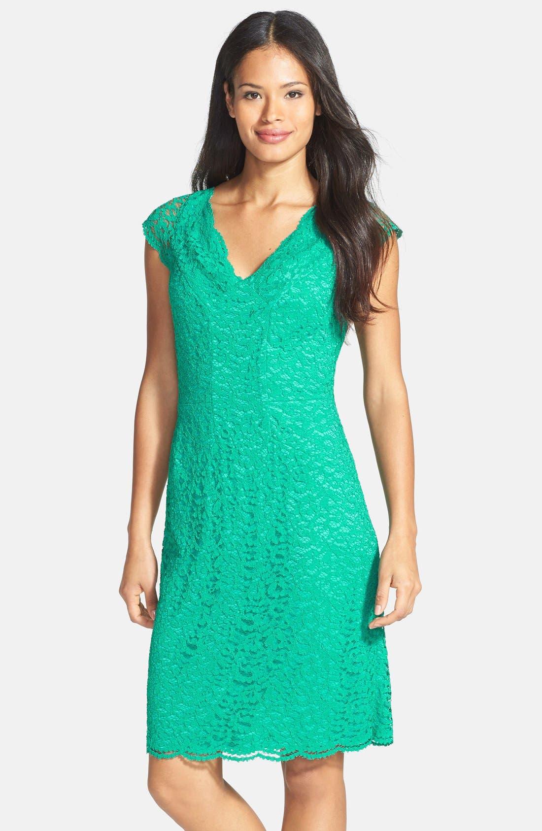 Main Image - Donna Ricco Stretch Lace Dress (Regular & Petite)