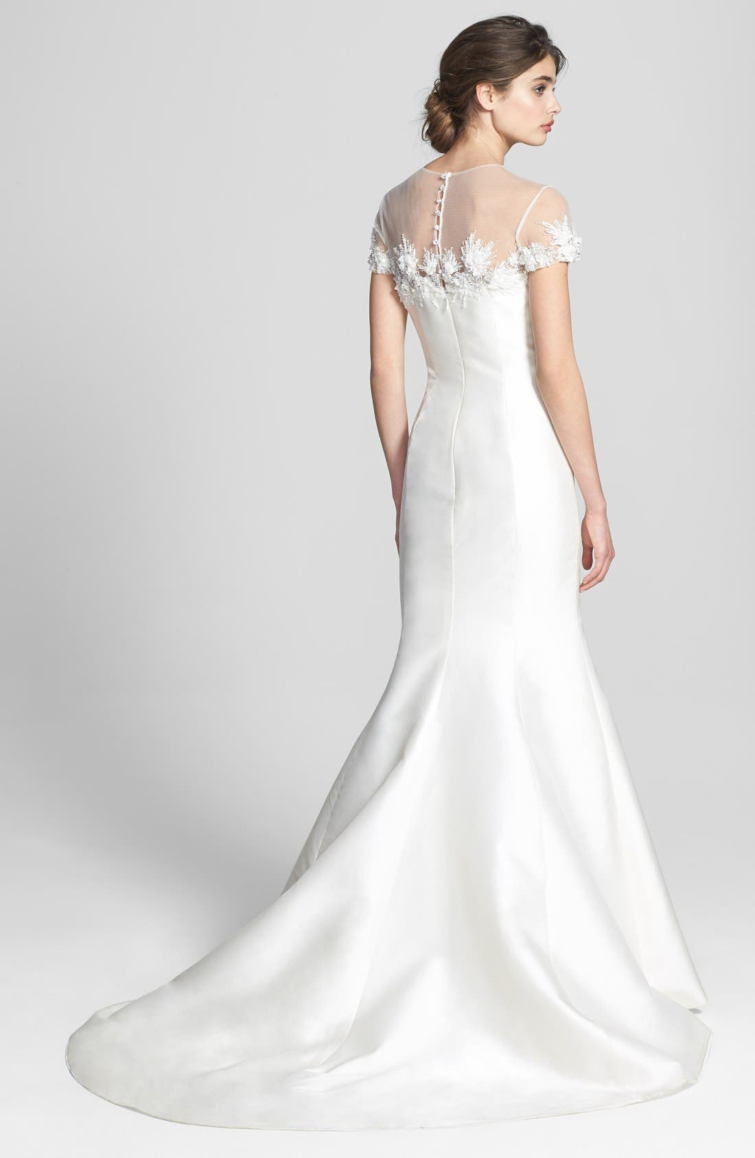 Alternate Image 2  - Badgley Mischka Bridal 'Audrey' Cap Sleeve Embellished Mermaid Dress (In Stores Only)