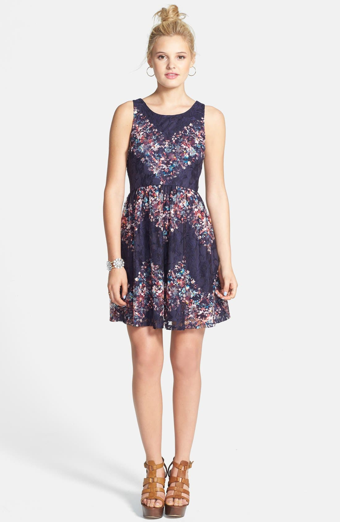 Alternate Image 3  - Fire Stretch Lace Skater Dress (Juniors)