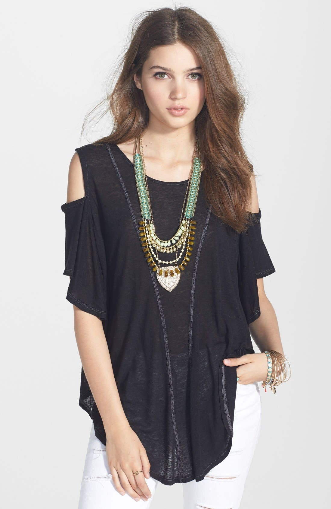 Main Image - Free People Seamed Cold Shoulder Top