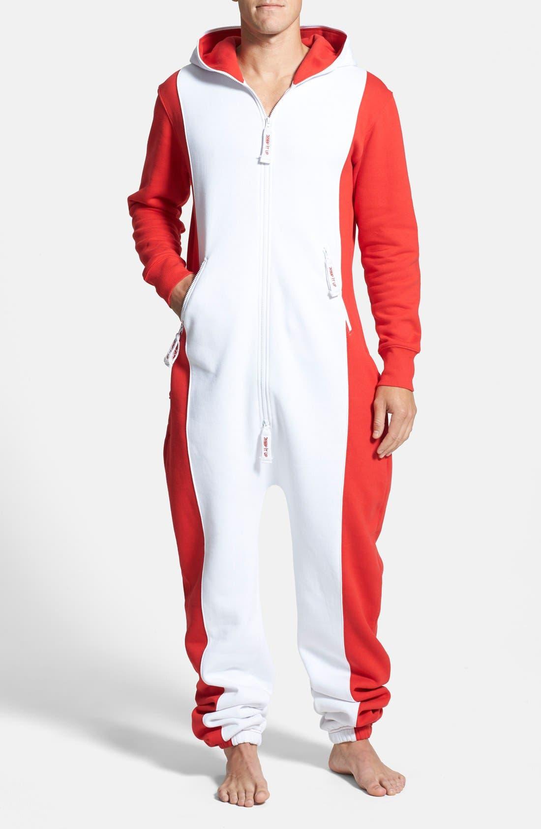 Alternate Image 2  - ZOOOP iT UP™ Canada Flag Zip Hoodie Jumpsuit