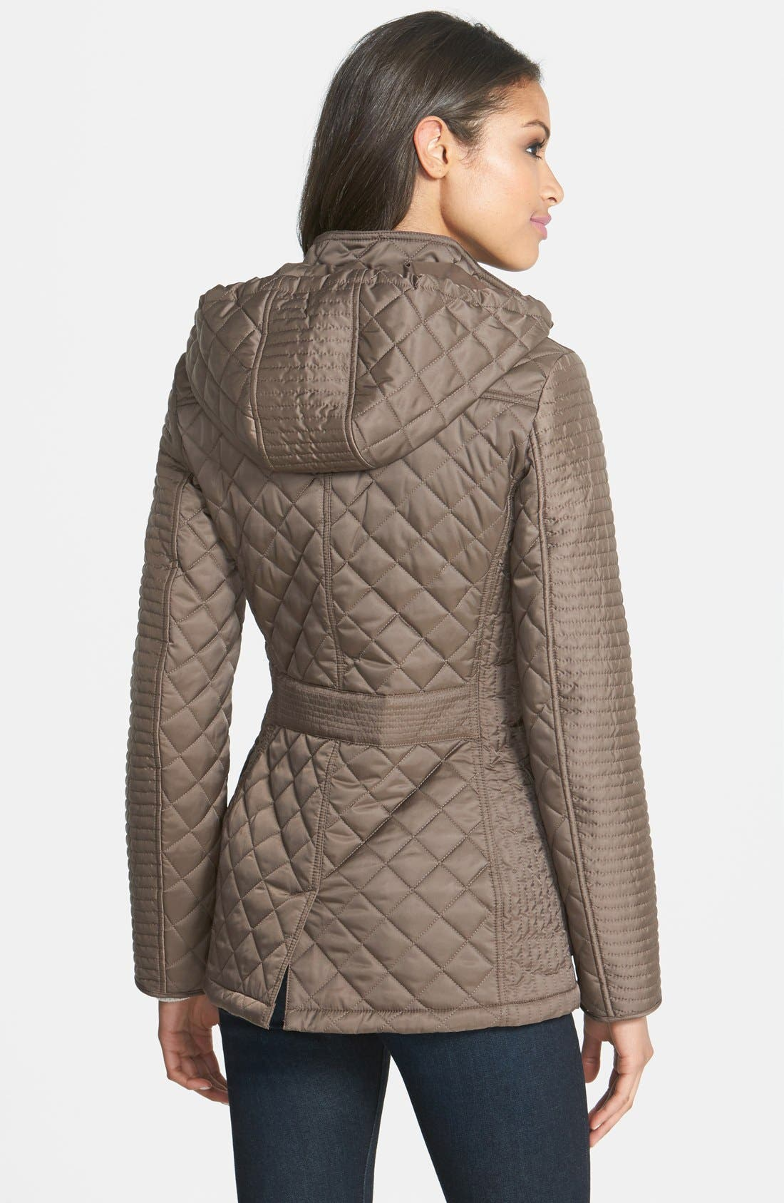 Alternate Image 2  - Laundry by Shelli Segal Quilted Jacket with Removable Hood (Regular & Petite)