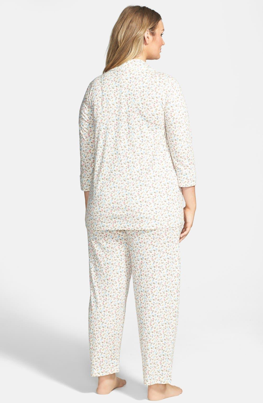 Alternate Image 2  - Lauren Ralph Lauren Jersey Knit Pajamas (Plus Size)