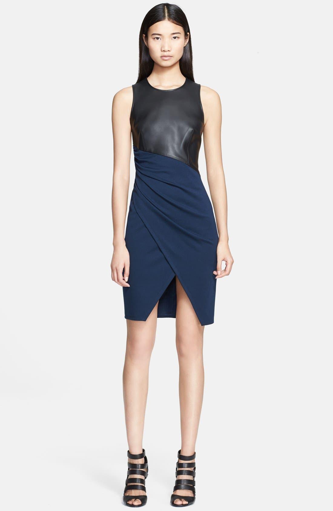 Main Image - Jay Godfrey 'Vaughn' Faux Leather &  Ponte Knit Dress