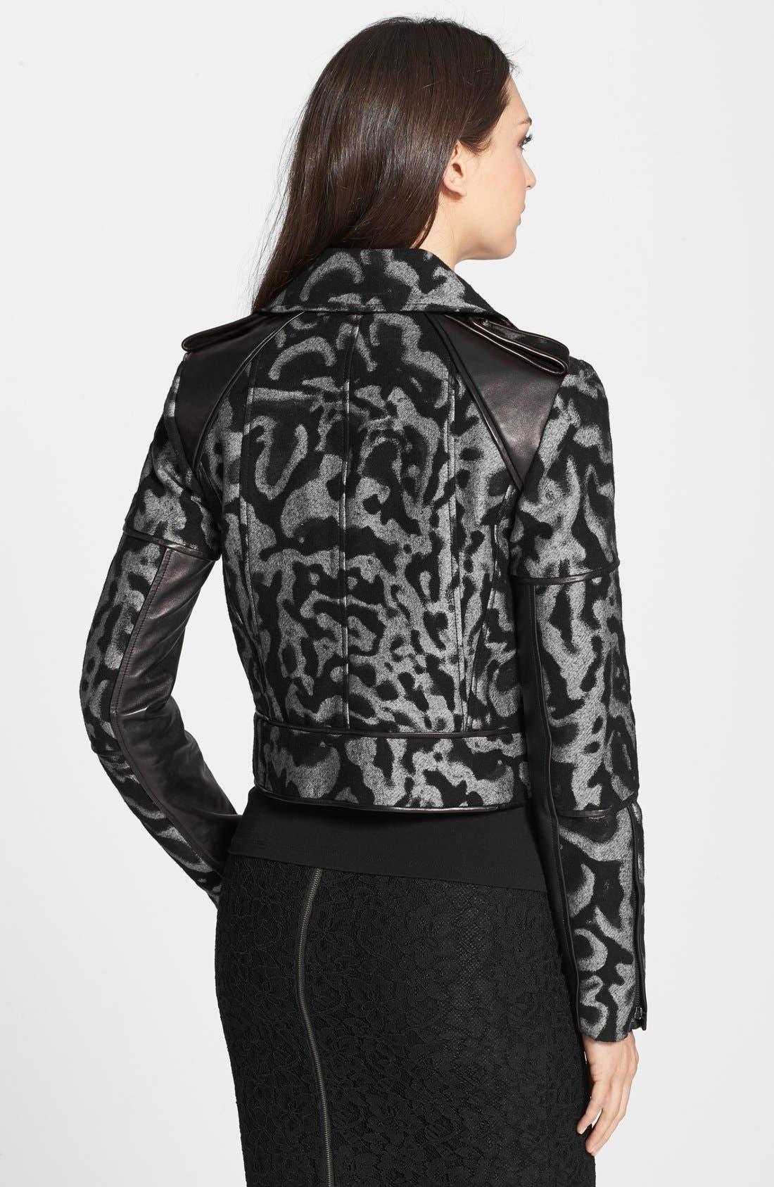 Alternate Image 2  - Diane von Furstenberg 'Theodora Leo' Leather Accent Jacket