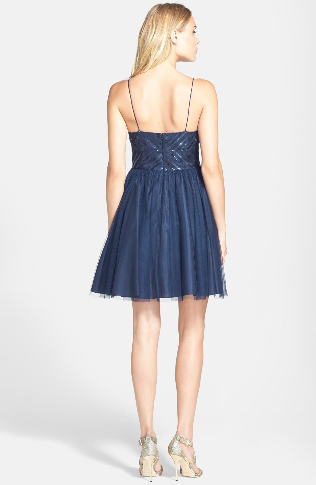 Alternate Image 2  - Aidan by Aidan Mattox Spaghetti Strap Sequin & Tulle Dress (Online Only)