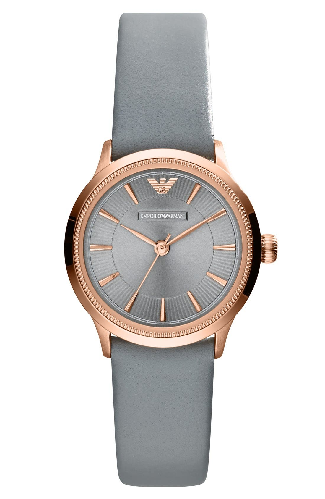 Alternate Image 1 Selected - Emporio Armani Round Leather Strap Watch, 26mm
