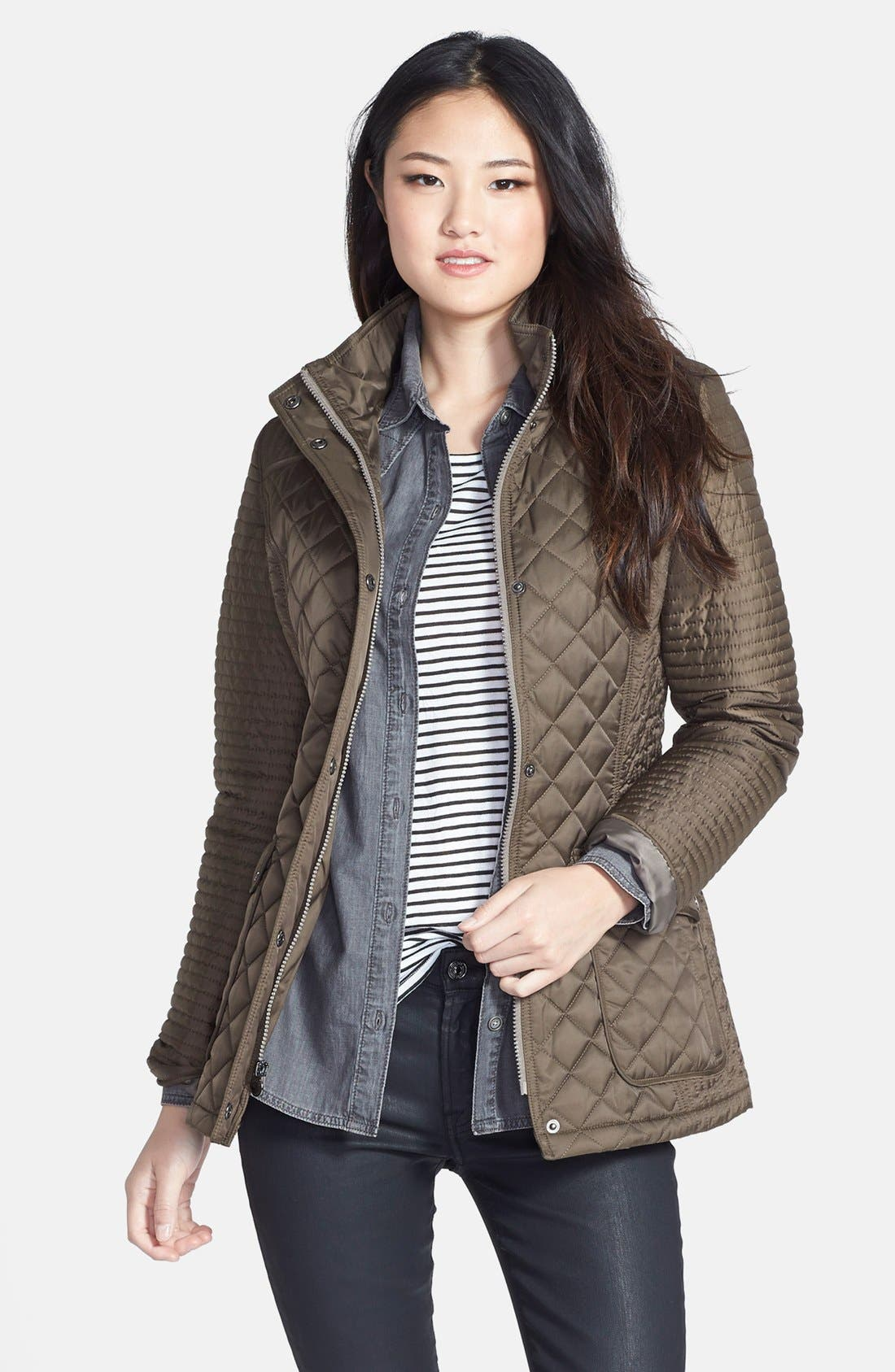 Main Image - Laundry by Shelli Segal Quilted Jacket with Removable Hood (Regular & Petite)