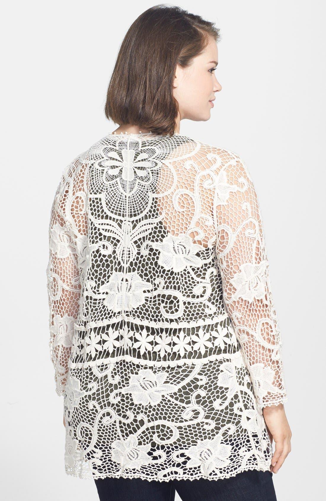 Alternate Image 2  - Forgotten Grace Tie Front Crochet Cardigan (Plus Size)