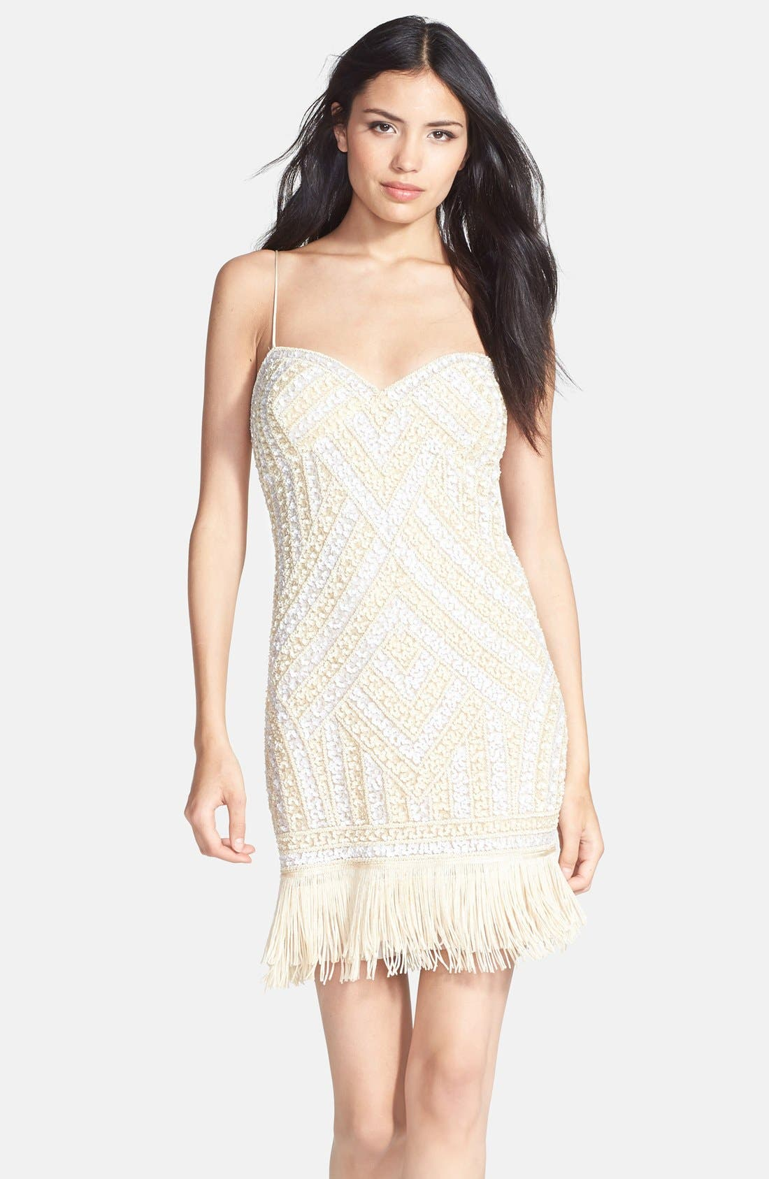 Alternate Image 1 Selected - Aidan Mattox Embellished Fringe Dress