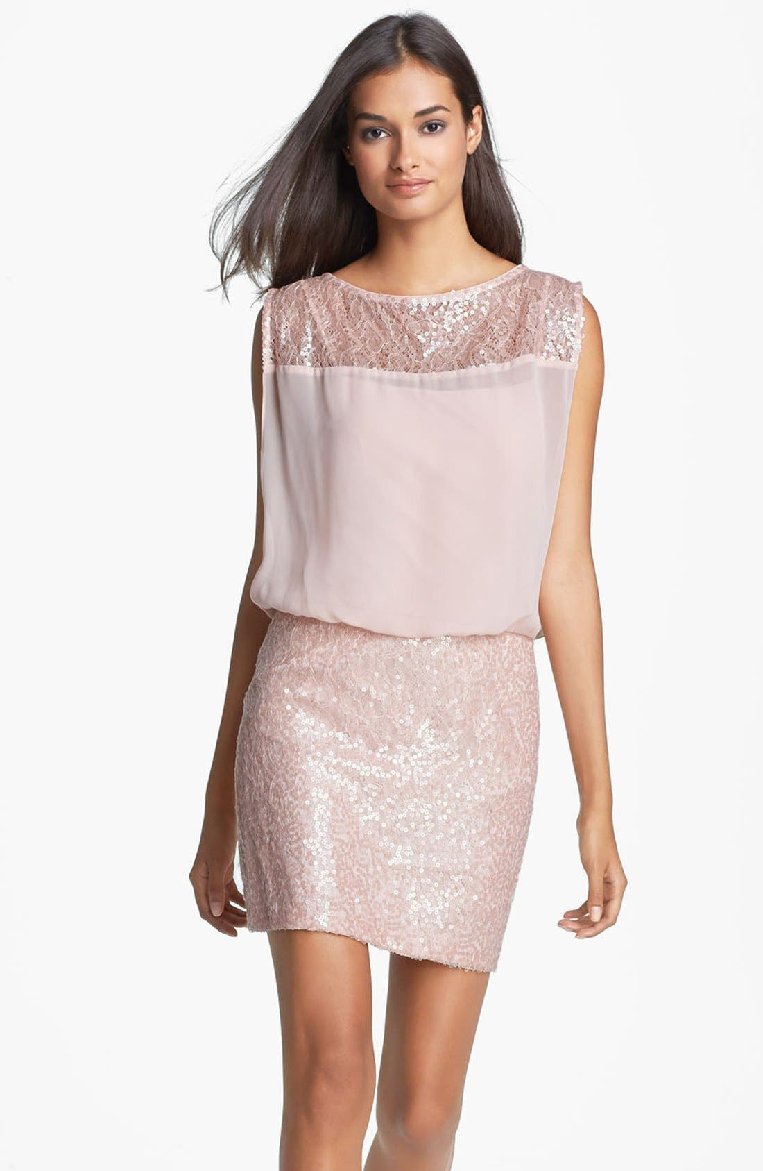 Main Image - Aidan Mattox Embellished Lace & Chiffon Blouson Dress (Online Only)