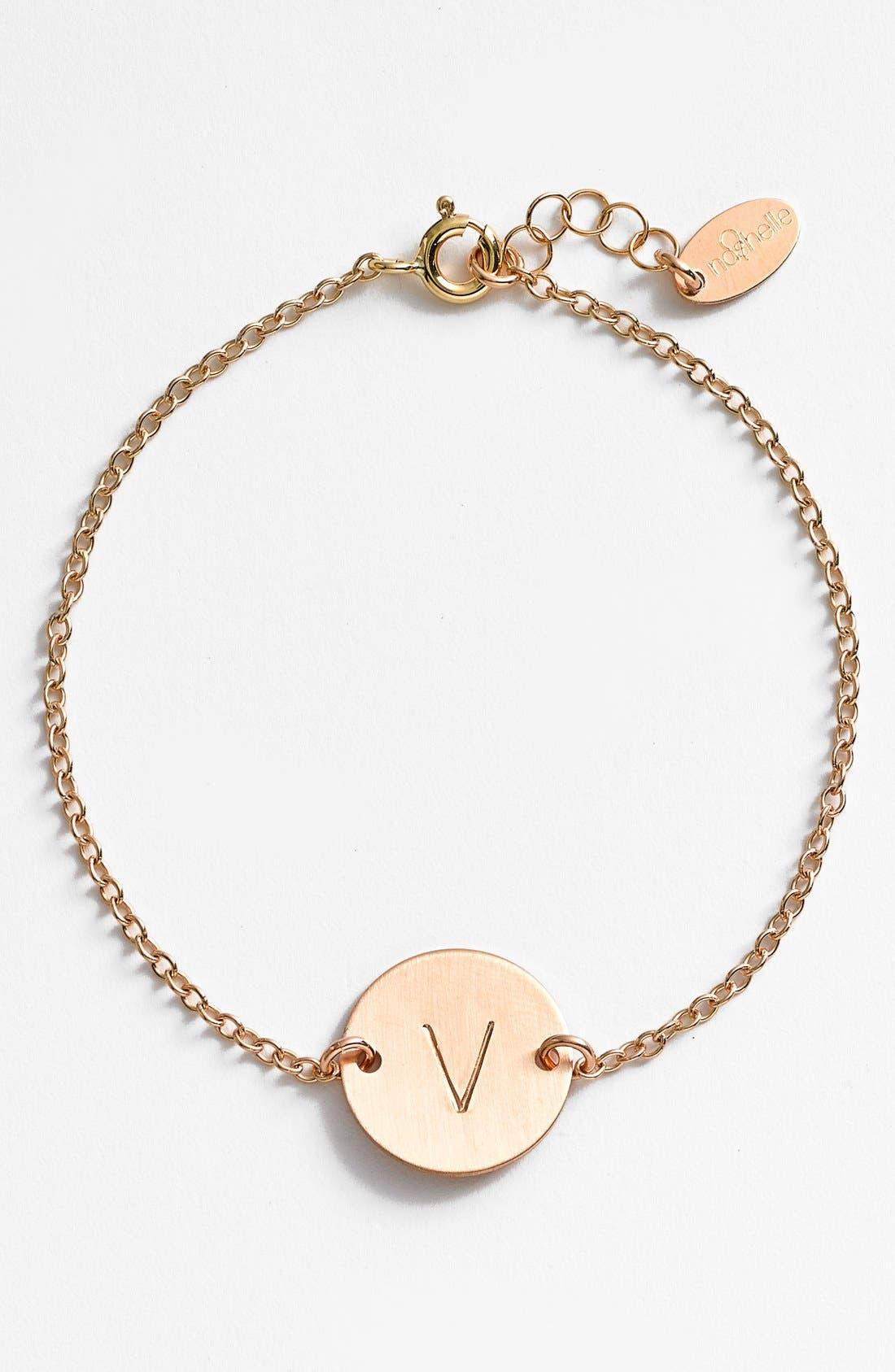 Main Image - Nashelle 14k-Gold Fill Initial Disc Bracelet