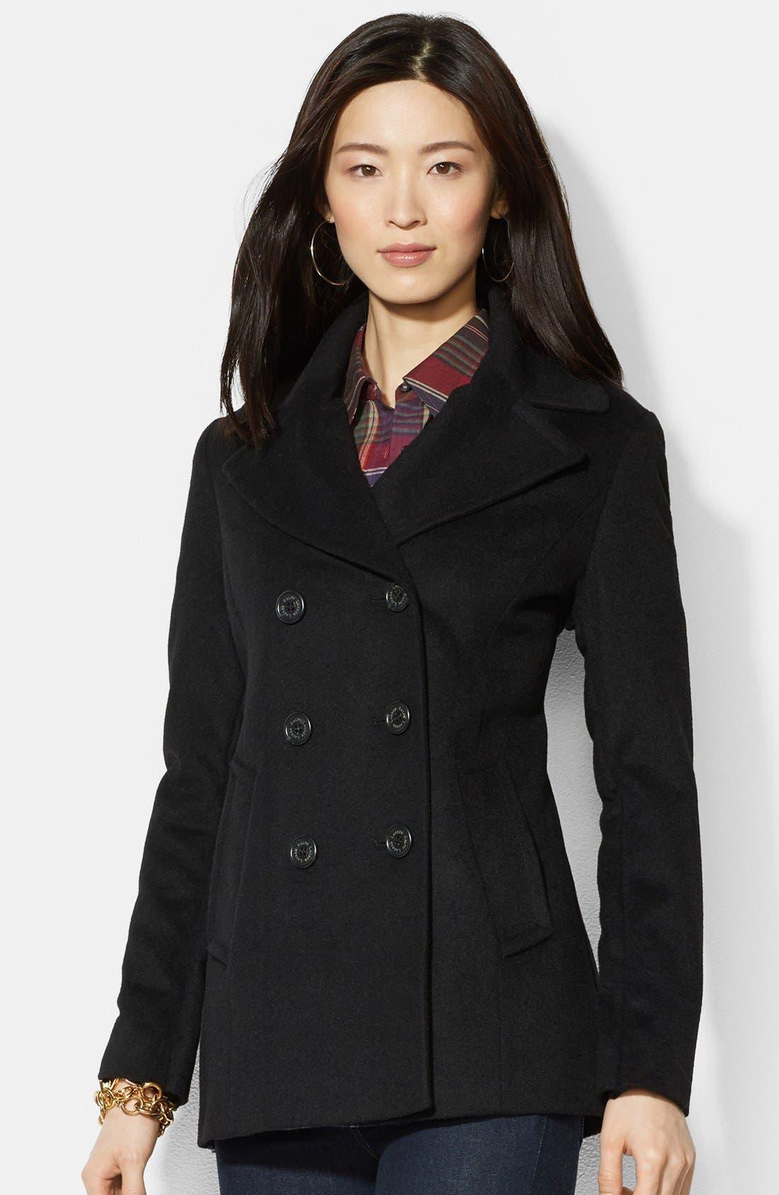 Main Image - Lauren Ralph Lauren Double Breasted Wool Blend Peacoat (Online Only)