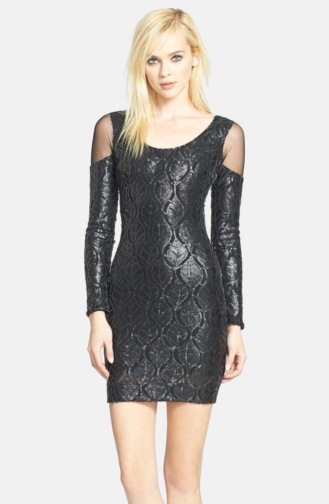 Alternate Image 1 Selected - Dress the Population 'Jaden' Faux Leather Sequin Body-Con Dress
