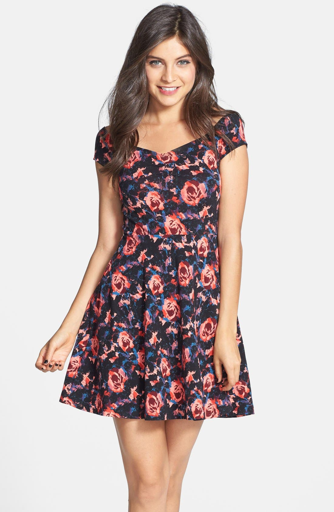 Main Image - Frenchi® Floral Print Off-Shoulder Fit & Flare Dress (Juniors)