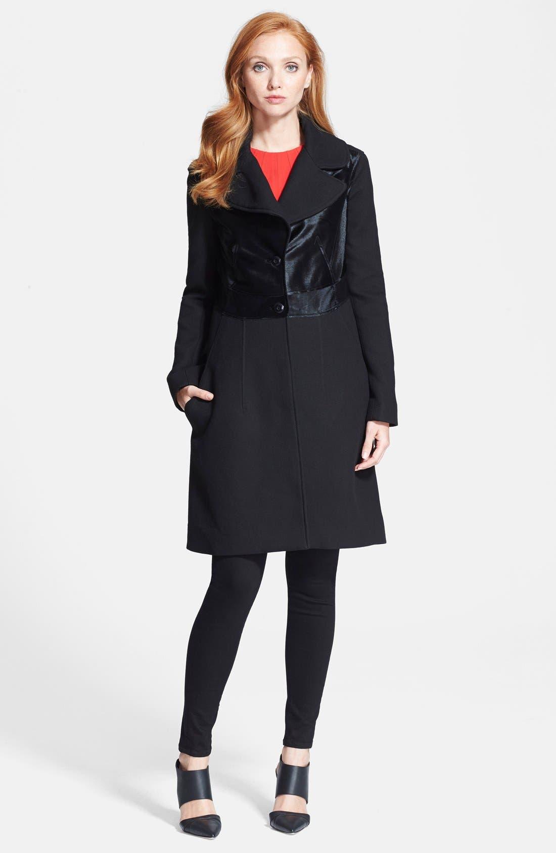 Main Image - Diane von Furstenberg Long Sleeve Calf Hair Coat