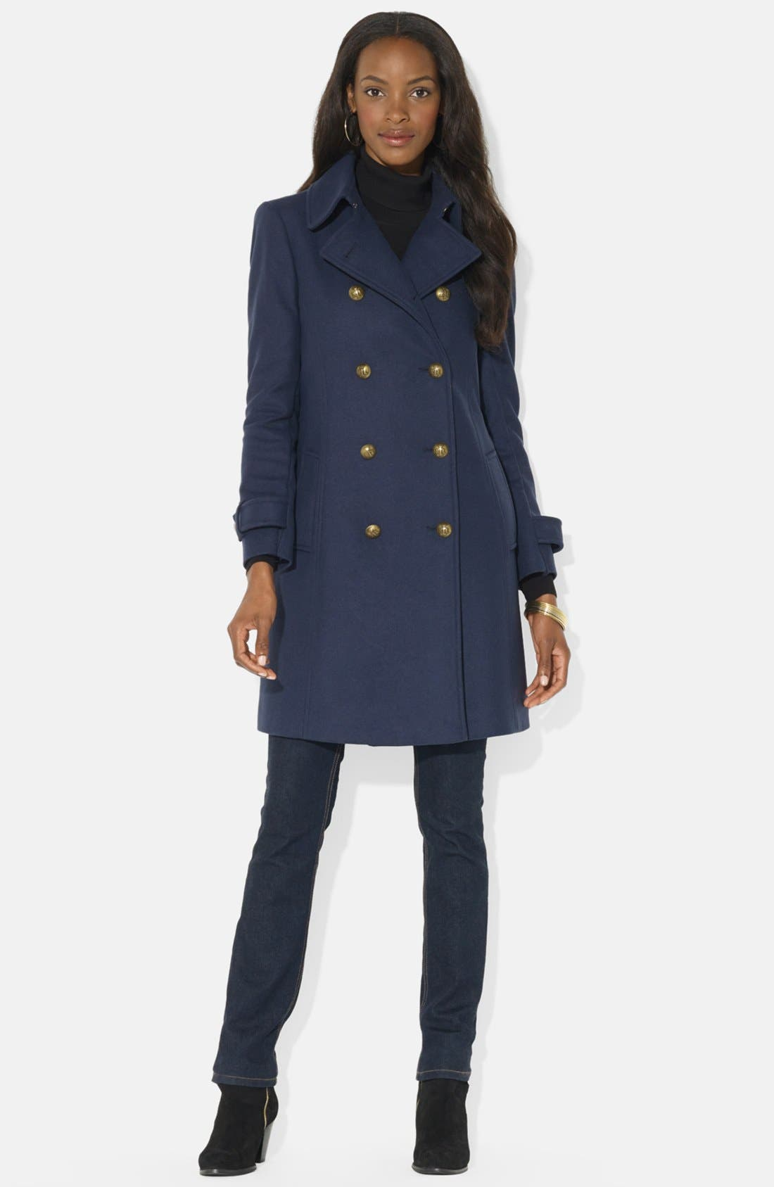 Alternate Image 1 Selected - Lauren Ralph Lauren Double Breasted Wool Blend Peacoat (Online Only)
