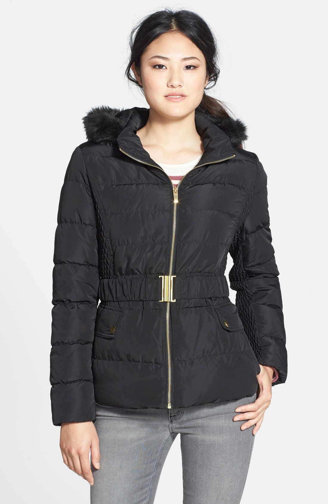 Main Image - Via Spiga Faux Fur Trim Hooded Puffer Jacket (Online Only)