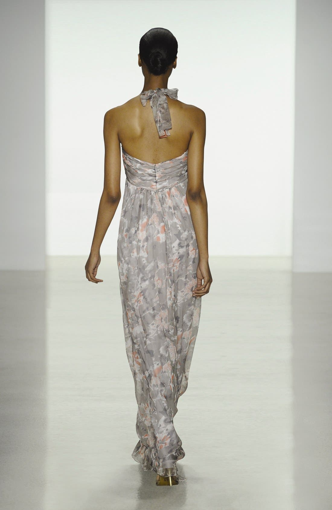 Alternate Image 5  - Amsale Print Crinkled Silk Chiffon Halter Gown