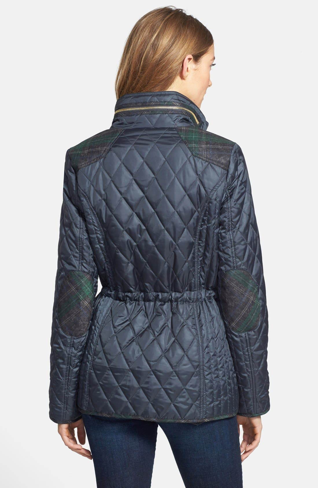 Alternate Image 2  - Sam Edelman Plaid Trim Quilted Coat